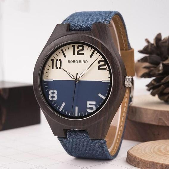 Relógio De Madeira Bobo Bird Masculino - Jeans Original Novo