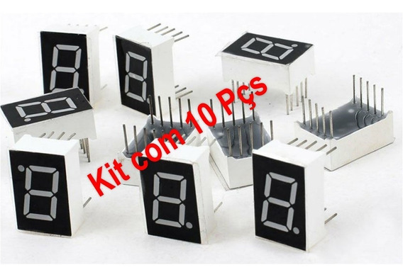 Kit 10 Displays 7 Segmentos 0.56 Vermelho Anodo Comum