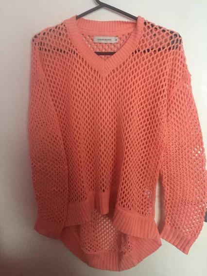 Sweater Calado De Mujer Color Salmón, Talle 40