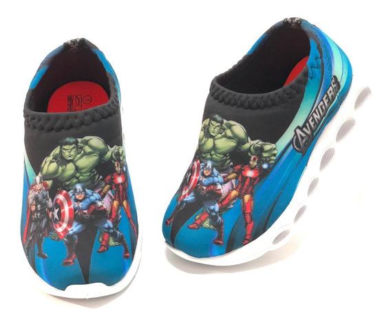 Tenis Luz Led Infantil Confortav Super Herois Incrivel Hulk