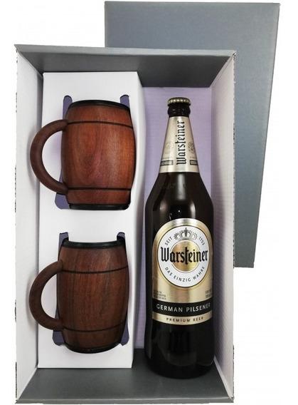 Caja Regalo P/1 Botella Con 2 Chops Cerveza En Algarrobo