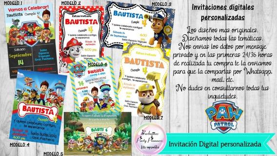 Invitación Digital Personalizada Paw Patrol- Patrulla Canina