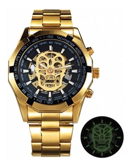 Relógio Winner Original Automático Skeleton Caveira Ouro Nfe