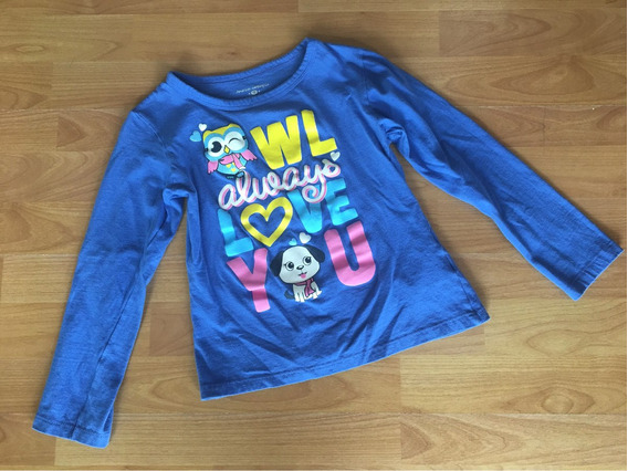 Playera Manga Larga Azul Owl American Clothing Co Talla G