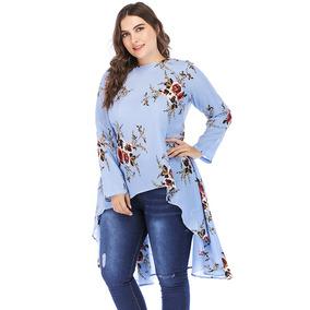 Novo Mulheres Mais Tamanho Floral Blusa Alto - Baixo Bainha