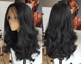 Peruca Front Lace Fibra Futura Similar Cabelo Humano Hair