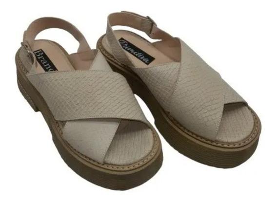 Sandalia Cuero Tira Cruz Base De Goma Zapato Mujer Moda 1444