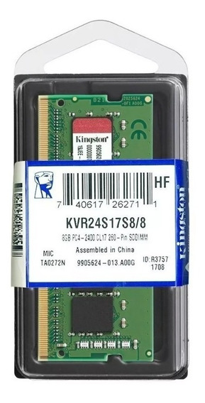 Memória Kingston Notebook Ddr4 8gb 2400mhz