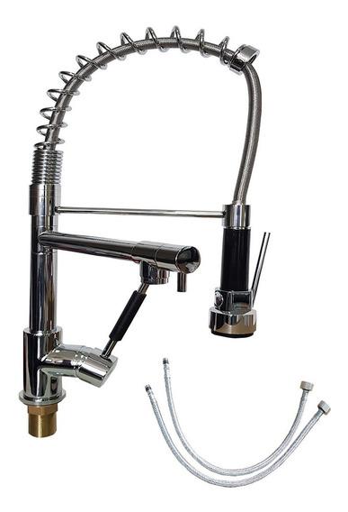 Torneira Gourmet Metal Mono Comando 50cm Misturador Spray
