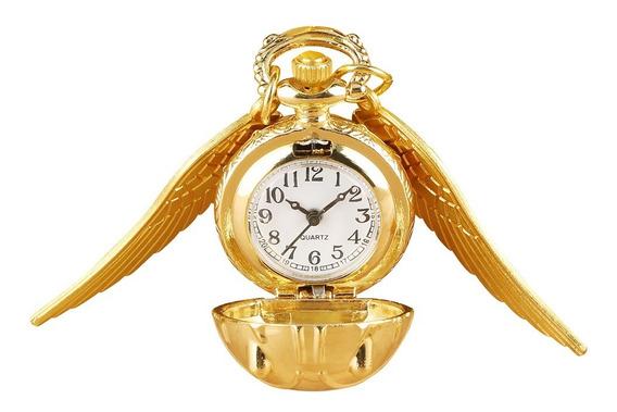 Colar Relógio Pomo De Ouro Harry Potter Cordão, A Bateria