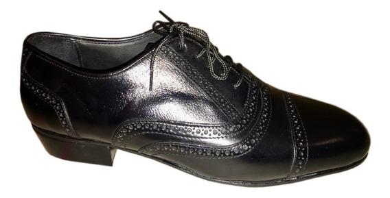 Zapatos De Baile Tango Salsa Rock Cuero Negro Flexible Cromo