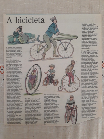 Recorte Jornal Matéria História A Bicicleta