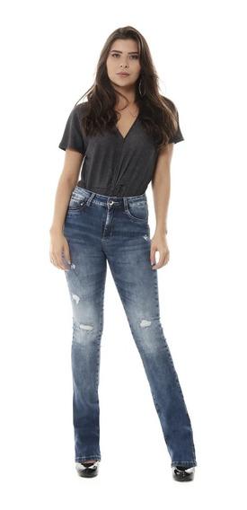 Calça Jeans Feminina Flare Push Up Sawary