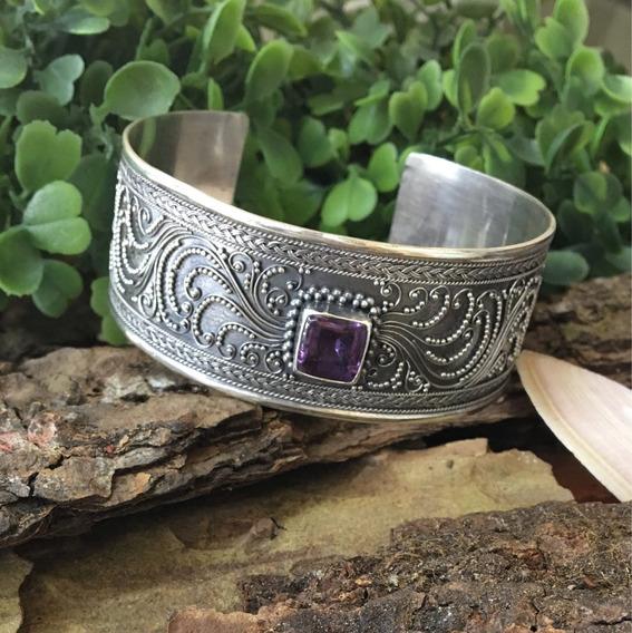 Bracelete Prata 925 Com Ametista Importado