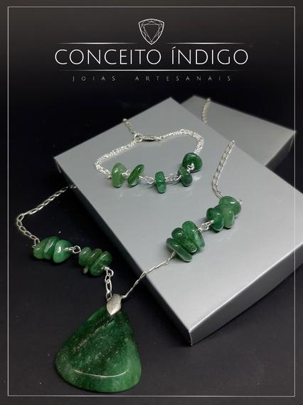 Conjunto De Prata 925 Com Pedra Quartzo Verde Natural