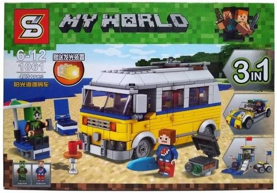 Brinquedo Lego P/ Montar Minecraft 429 Pçs Van De Praia 3x1