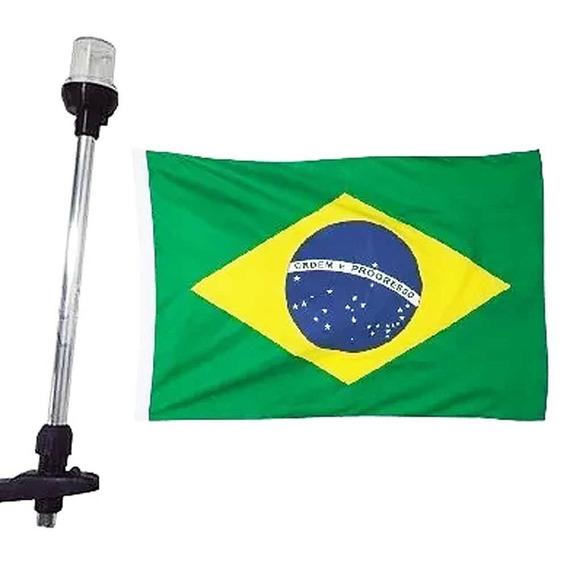 Mastro Popa Com Luz Led - Efeito Strobo - Bandeira Do Brasil