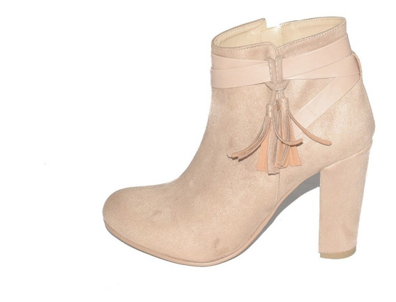 Zapatos Botin Dama Tacon Ancho Mujer Gamuza Beige M2290