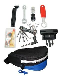 Kit Bolsa Selim Bike Chave Corrente Ferramenta Kit Remendo
