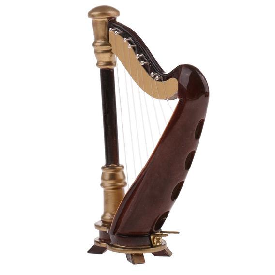 Miniatura Casa De Bonecas 8- Cordas Harpa Música Quarto Dec
