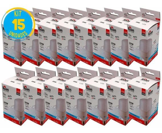 Lâmpada Led Bulbo 20w Branca E27 Kian (kit Com 15)