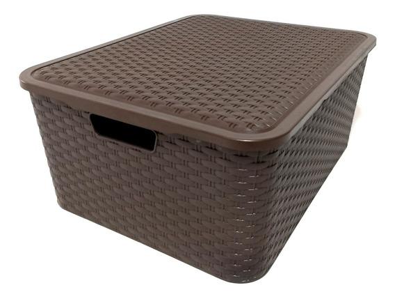 Canasto Plastico Simil Ratan Nº4 Xl Organizador Con Tapa Bz3