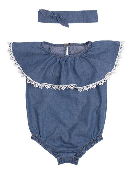 Body Bebê Menina Jeans Com Tiara