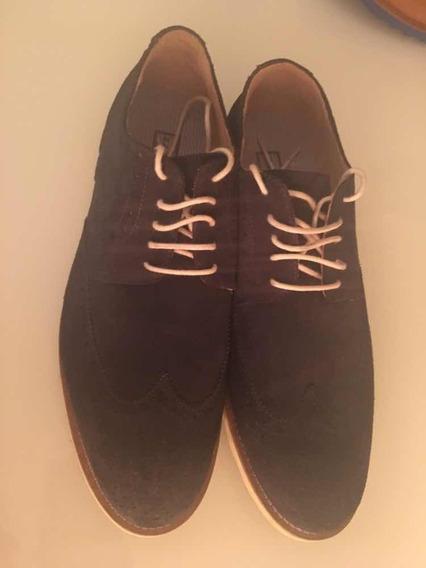 Sapato Acamurçado Azul Escuro - Zara - Tam 44