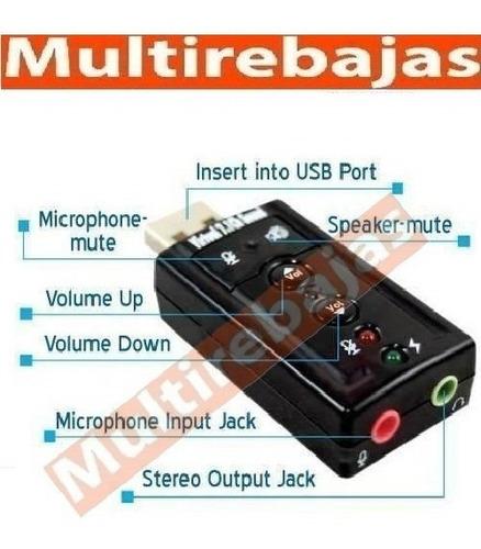 Imagen 1 de 5 de Tarjeta Adaptador Audio Sonido Usb Mic 7.1 Dj Mix Pc Laptop
