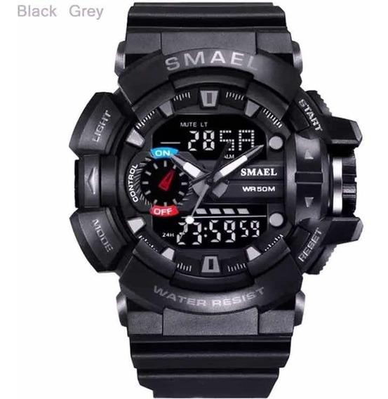 Relógio Black Grey Smael 30 M À Prova D`água
