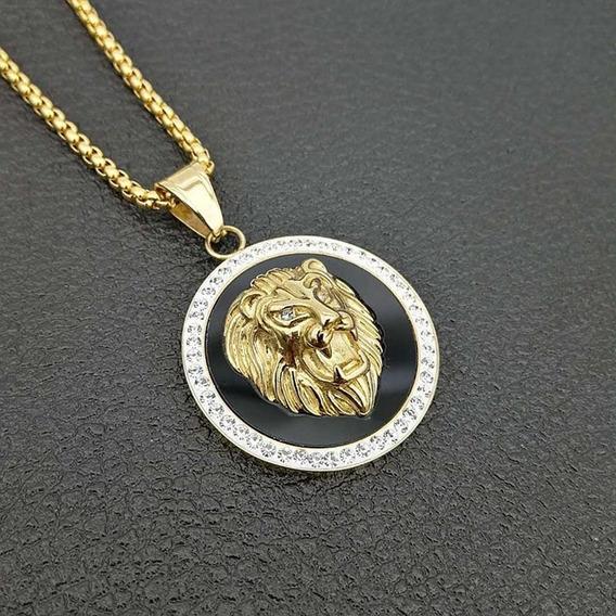 Corrente Cordão Titânio Ouro Banho 18k Leão Felino Luxo C248