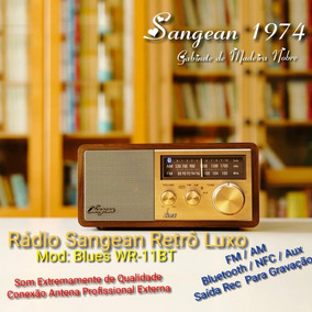 Rádio Sangean Retrô Madeira Luxo Fm, Am, Bluetooth, Nfc, Aux