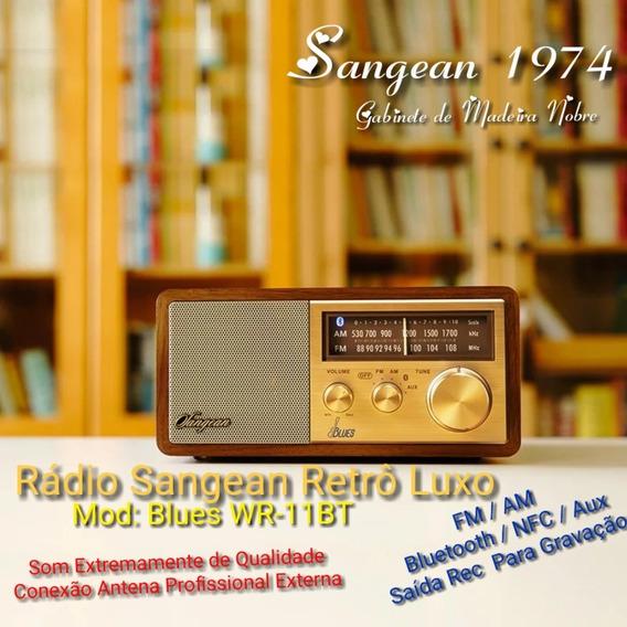 Rádio Sangean Retrô Vintage Madeira Luxo Fm, Am, Bluetooth