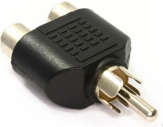 Kit 02 Unidades Rca Av Áudio Y Splitter Plug Adaptador 1