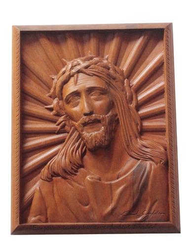 Quadro De Cristo, Madeira Nobre, Rústico, Religioso