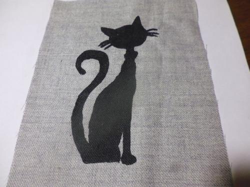 Parche Artesanal Gato Negro Pintado A Mano