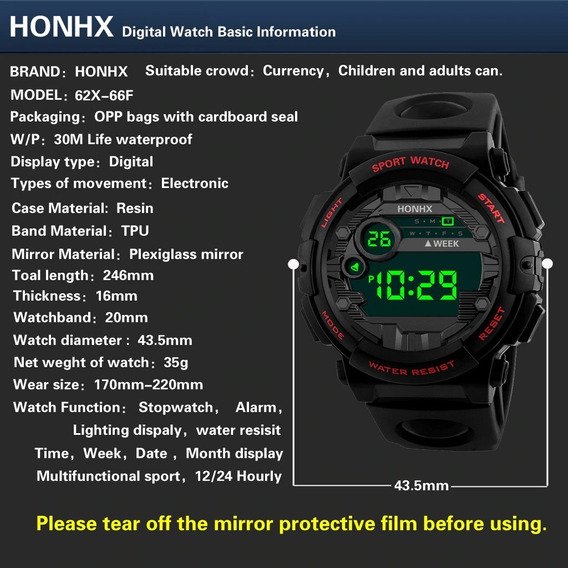 Relógio Eletrônico Honhx De Led Esporte A Prova De Água