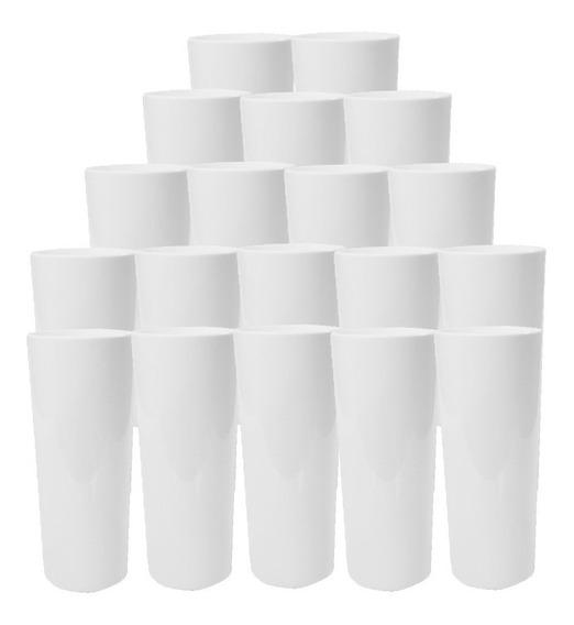 Cx 100 Copo Long Drink 350ml Acrilico Branco Festa Liso