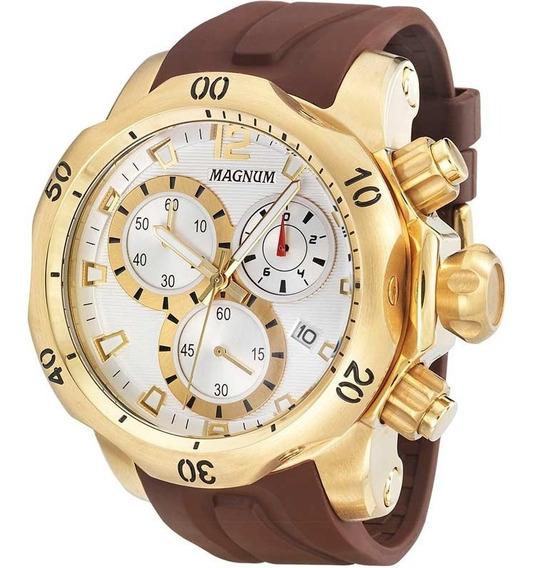 Relógio Magnum Masculino Ma33755b Marrom Com Dourado