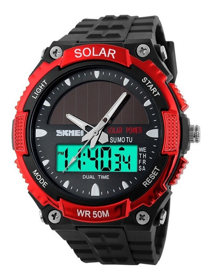 Reloj Solar Analógico Y Digital Sumergible 50m Skmei 1049