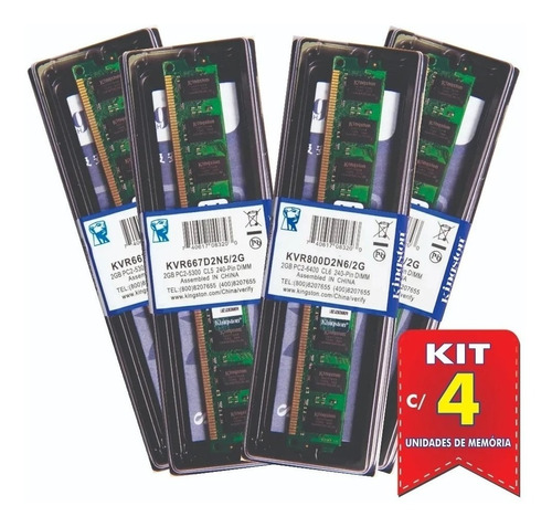 Imagem 1 de 8 de Kit Com 4 Memória Ram2gb 800mhz Ddr2 Kingston Kvr800d2n6/2g