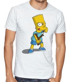 Camiseta Infantil Blusa Criança Simpsons Bart Estilingue Fil