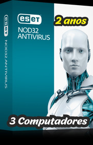 2 Anos Original Eset Nod 32 Antivírus 3pc