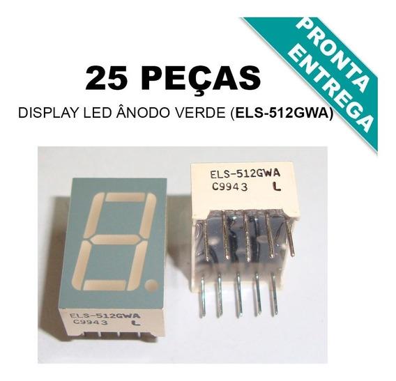 25x Display Led Ânodo Verde 1 Digito 7 Segmentos Els-512gwa