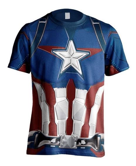 Camisa Camiseta Traje Armadura Vingadores Capitão America