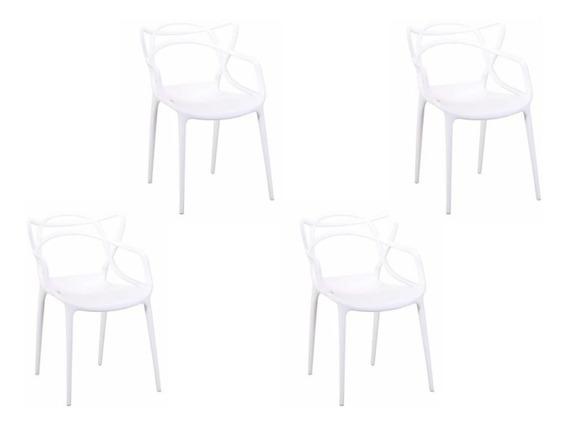 Paq 4 Sillas Blancas Para Comedor Y Salas. T822-b