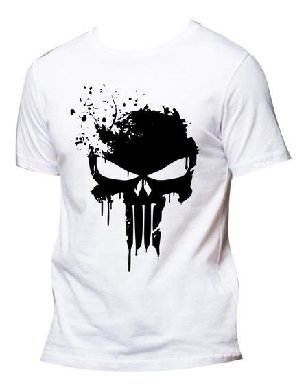 Camiseta Camisa Branca Justiceiro Heróis Caveira Série