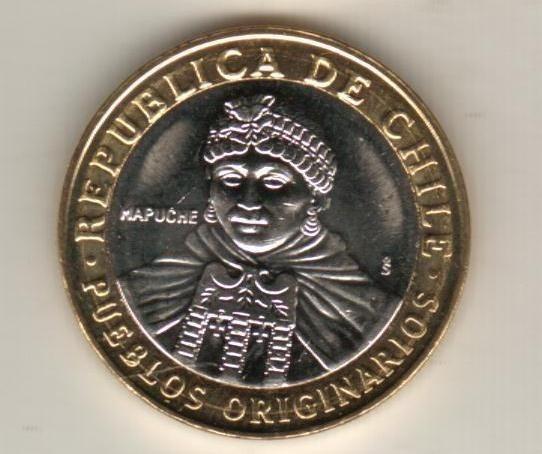 Chile Moneda Bimetalica Pueblos Originarios 100 Pesos 2006