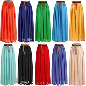 7eb6f6212 Maxi Faldas Largas - Polleras Acampanadas de Mujer en Mercado Libre ...