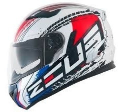 Capacete Zeus 813 An13 Solid White/red 56 A 62